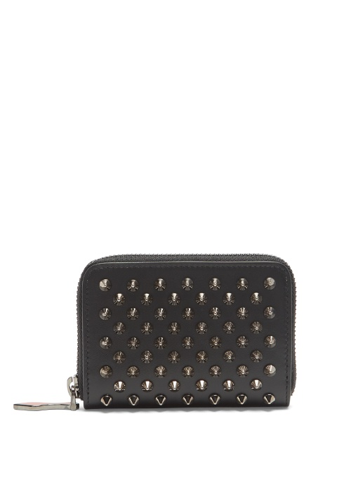 CHRISTIAN LOUBOUTIN Panettone Spike-Embellished Leather Coin Purse in Black