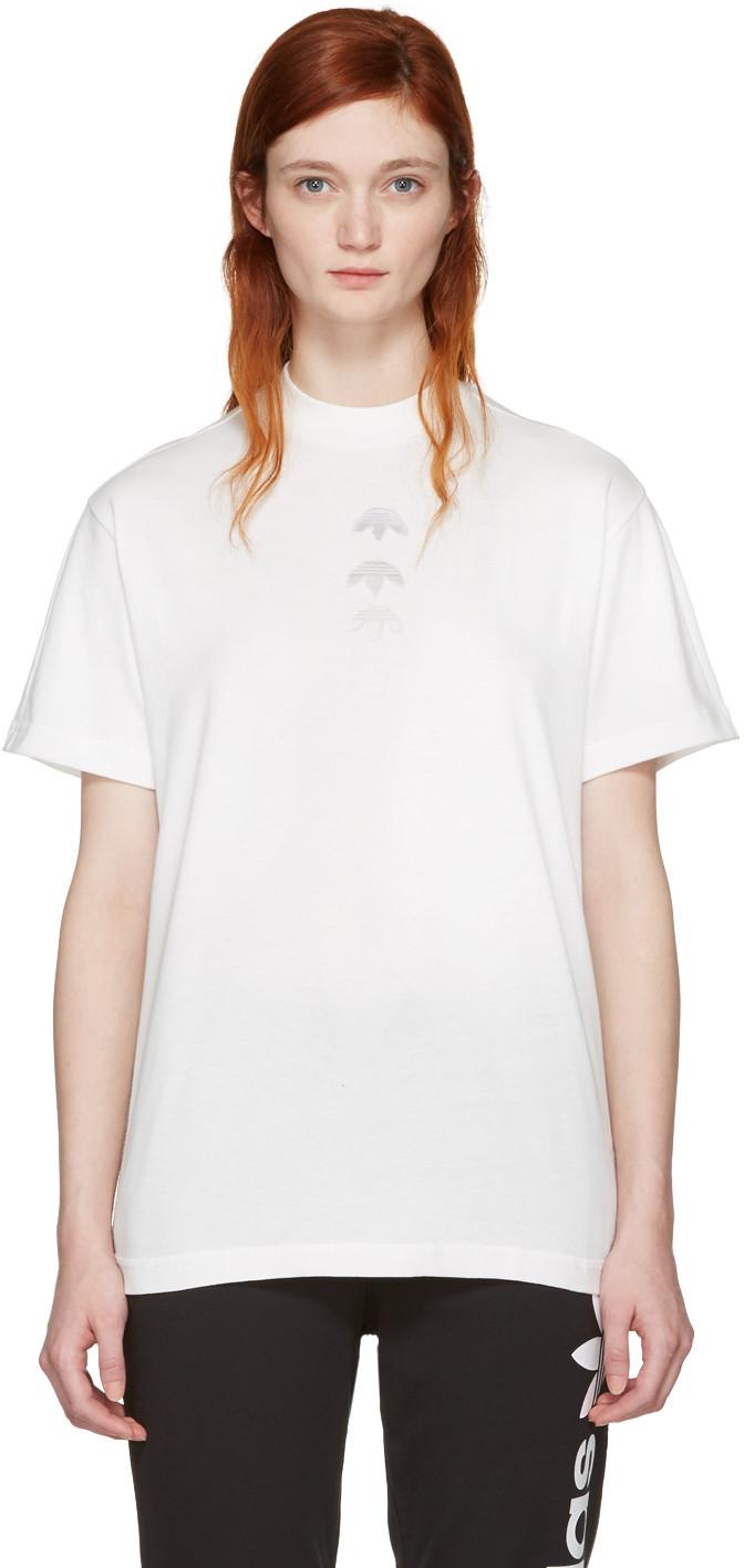 Adidas Originals By Alexander Wang White Logo T Shirt
