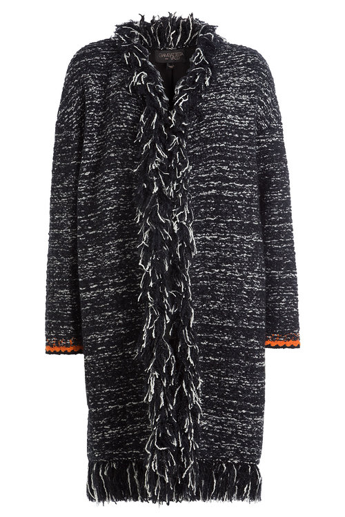 Giambattista Valli Wools Fringed Cardigan with Mohair and Wool