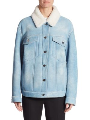 Oversized Shearling Denim-Look Leather Jacket