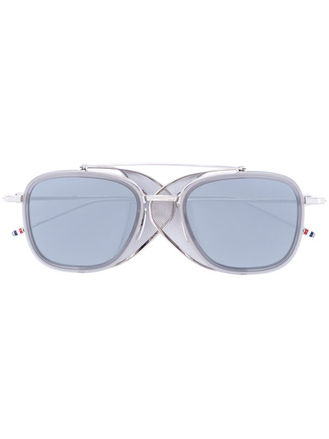 SILVER SUNGLASSES WITH MESH SIDES & GREY LENS