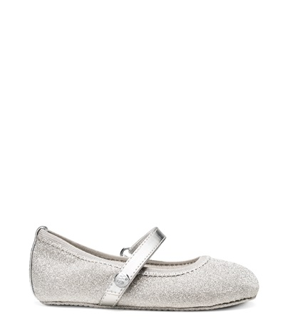STUART WEITZMAN THE BABYDANCER, SILVER GLITTER