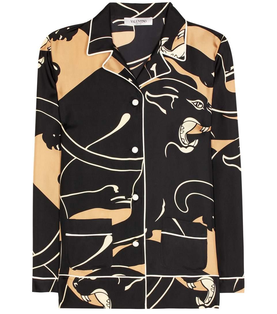 Panther-print silk-twill pyjama top