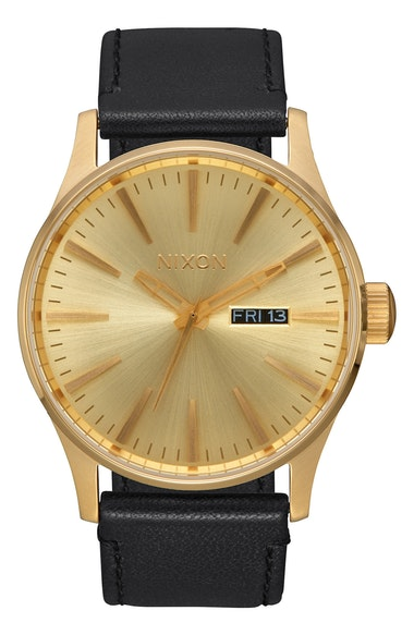 Nixon Watches The Sentry Leather Strap Watch, 42mm