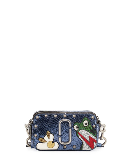 MARC JACOBS Navy Blue Leather Frog Snapshot Camera Bag