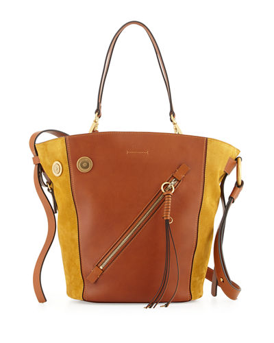 Chloé Leathers MYER MEDIUM LEATHER & SUEDE TOTE BAG, BROWN