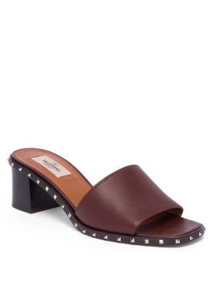 Valentino Leathers Soul Rockstud Leather Block Heel Slides