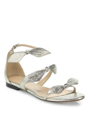 Chloé Leathers Mia Metallic Leather Knotted Bow Flat Sandals