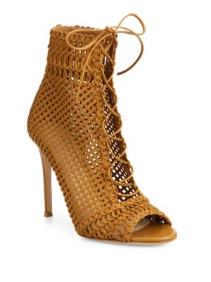 Gianvito Rossi Leathers Marnie Woven Leather Lace-Up Booties