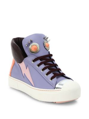 Fendi Leathers Faces Studded Leather High-Top Sneakers