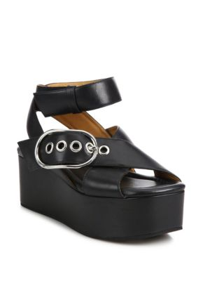 Alexander Wang Leathers Skye Leather Crisscross Wedge Platform Sandals