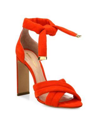 Ziggy Suede Crisscross Ankle-Tie Sandals