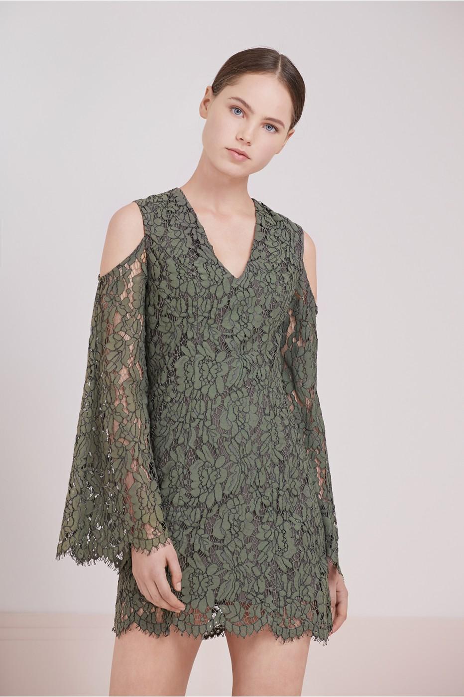 Porcelain Long Sleeve Lace Dress
