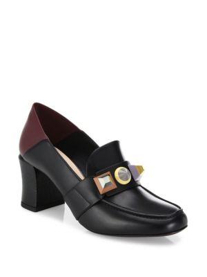 Fendi Leathers Rainbow Studded Leather Block Heel Loafer Pumps