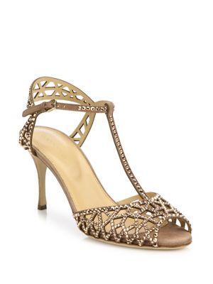 Sergio Rossi Crystals Tresor Embellished T-Strap Sandals