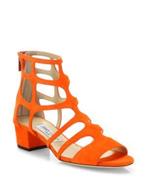 Ren Caged Suede Block-Heel Sandals