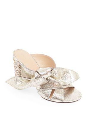 Nellie Bow Metallic Leather & Crystal Block Heel Slides