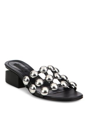 ALEXANDER WANG 40Mm Dome Studded Leather Sandals, Black