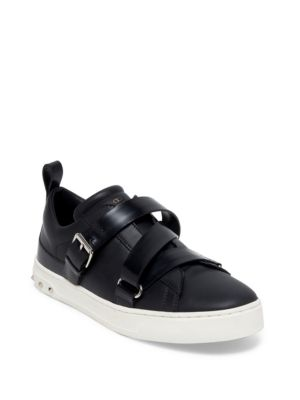 'V-Punk' crisscross strap leather sneakers