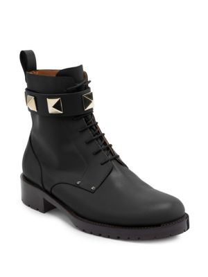LOCK LEATHER COMBAT ANKLE BOOTS
