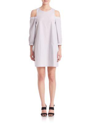 EX STRIPE COLD-SHOULDER DRESS