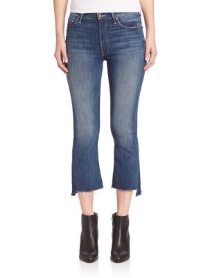 INSIDER CROPPED FRAYED-ANKLE JEANS IN DARK GRAFFITI