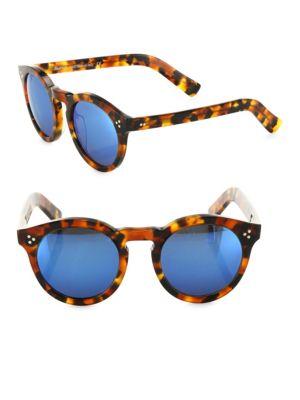 Leonard II Tortoise Round Mirrored Sunglasses