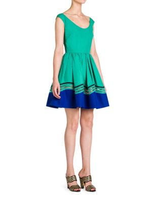 FENDI Cotton Taffeta Fit-&-Flare Dress