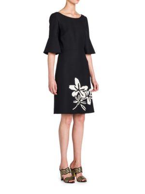 Fendi Silks Flared-Sleeve Embroidered Dress