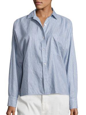 Vince Cottons Linen and Cotton Striped Split Back Shirt