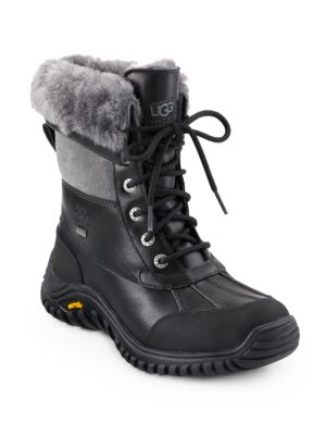 Ugg Leathers Adirondack II Lace-Up Shearling-Lined Leather Boots