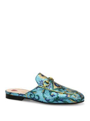 Princetown Metallic Brocade Loafer Slides