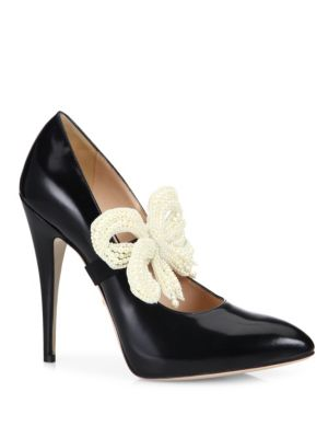 Elaisa Removable Pearly Bow & Leather Point Toe Pumps