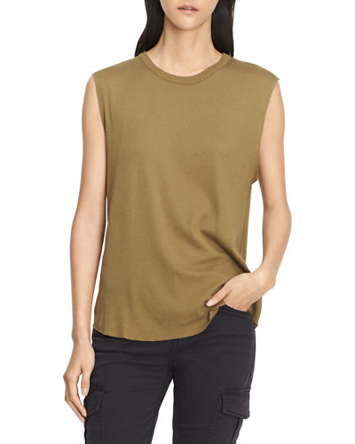 VINCE Pima Cotton Shirttail Tank Shell in Olive