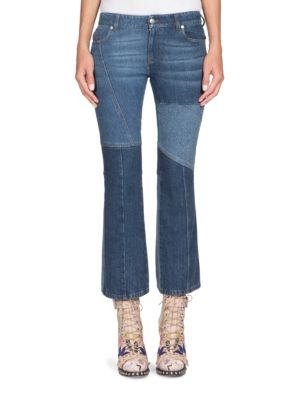 WOMAN PATCHWORK CROPPED MID-RISE FLARED JEANS MID DENIM
