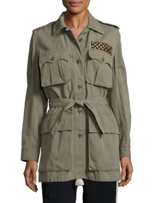 Safari embellished cotton and linen-blend twill jacket