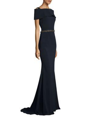 BADGLEY MISCHKA Off The Shoulder Beaded Waist Gown' in Blue