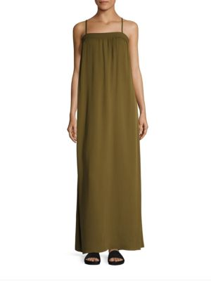 EMBROIDERED SILK DRESS - OLIVE