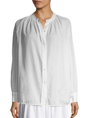 VINCE Solid Pleated Blouse in White