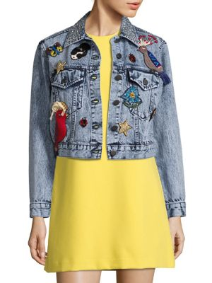 WOMAN EMBELLISHED BLEACHED DENIM JACKET MID DENIM