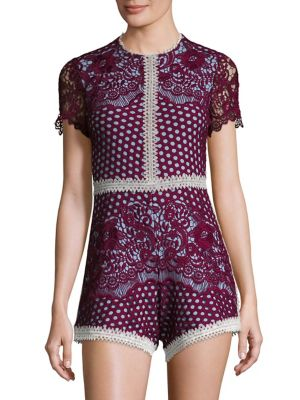 ROWEN LACE ROMPER, RED/LAVENDER