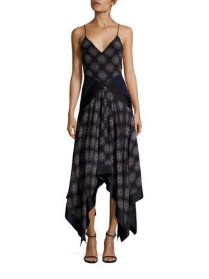 Printed Silk Dress with Scarf Hemline