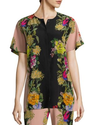 Butterfly Floral Silk Button-Down Blouse