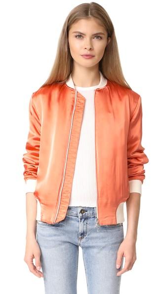 Cheap Price Free Shipping Eastbay Rag & Bone Woman Ribbed Knit-trimmed Satin Bomber Jacket Pastel Orange Size XS Rag & Bone Buy Cheap Low Shipping Fee seFBYSa1nf