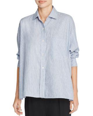Vince Cottons Split Back Stripe Shirt