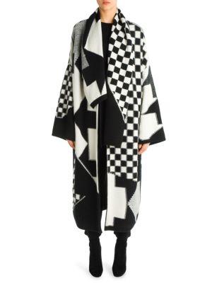 Checkboard intarsia oversized knit coat