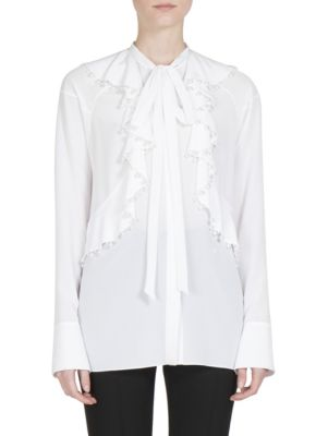 GIVENCHY Faux-Pearl Embellished Ruffled Blouse in White