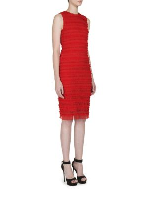 Givenchy Dresses Sleeveless Ruched Tulle Stripe Dress