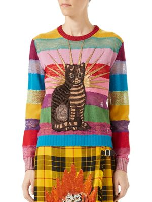 CAT EMBROIDERED LACE & WOOL SWEATER, MULTICOLOR