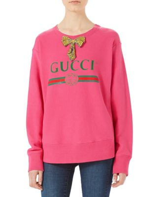 -PRINT SWEATSHIRT WITH CRYSTAL BOW, BRIGHT PINK